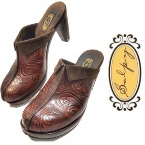 Salpy | Embossed Brown Leather Clog Mules, 8.5